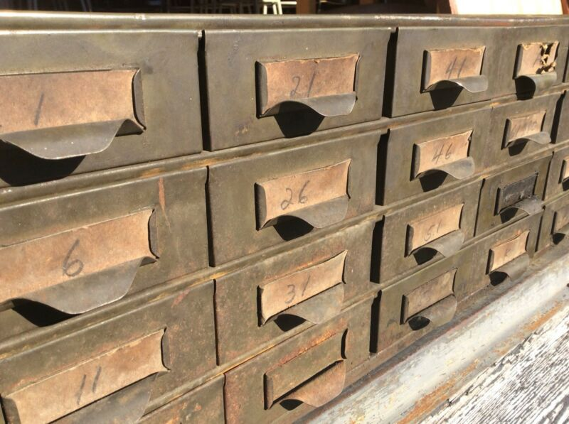 Vintage LYON Industrial Heavy Metal 24 Drawer File / Storage Cabinet - Very Good