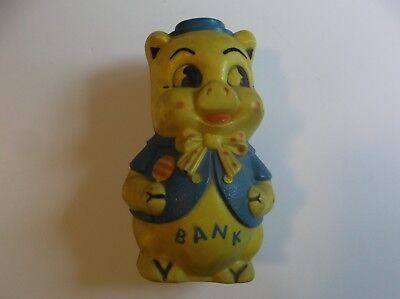 Seventies Piggy Bank Pig in Sailor Outfit w/ Lollipop Plastic Yellow Blue Empire - Seventies Outfit