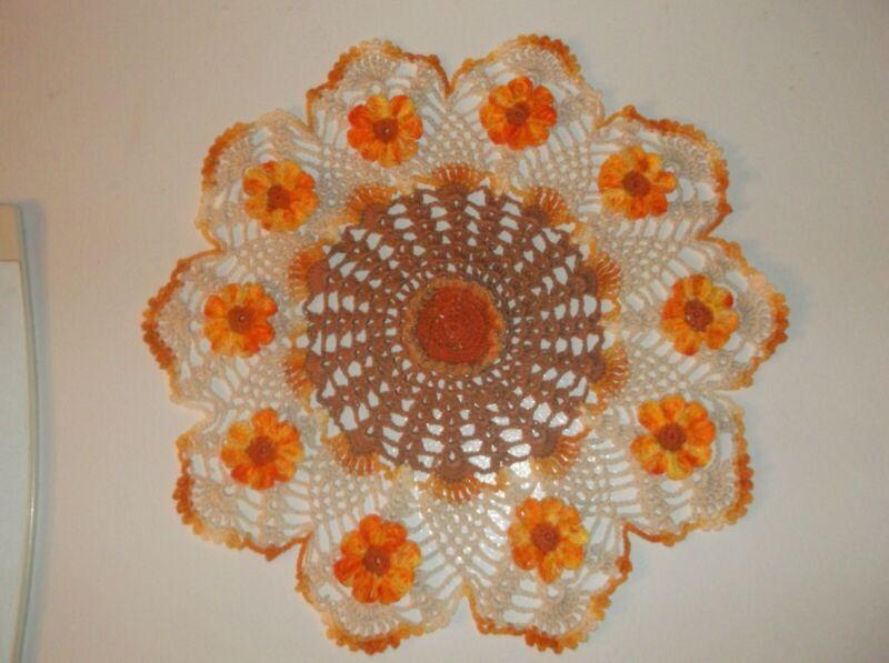 "New Hand Crochet Thanksgiving Fall Daisy doily 14 """