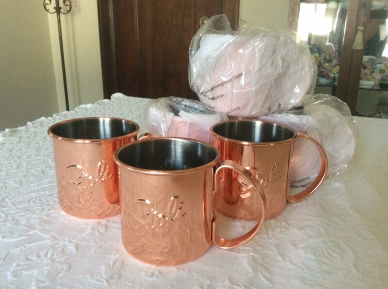 6 BRAND NEW STOLI VODKA MOSCOW MULE CUPS MUGS COPPER STRAIGHT SIDE WIDE HANDLE