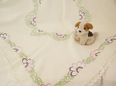 1930s lace edged hand embroidered floral linen tablecloth Anemone flowers