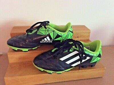 EUC Addidas Kids Soccer Cleats Shoes Youth Childrens Black & Green Size  US 13.5