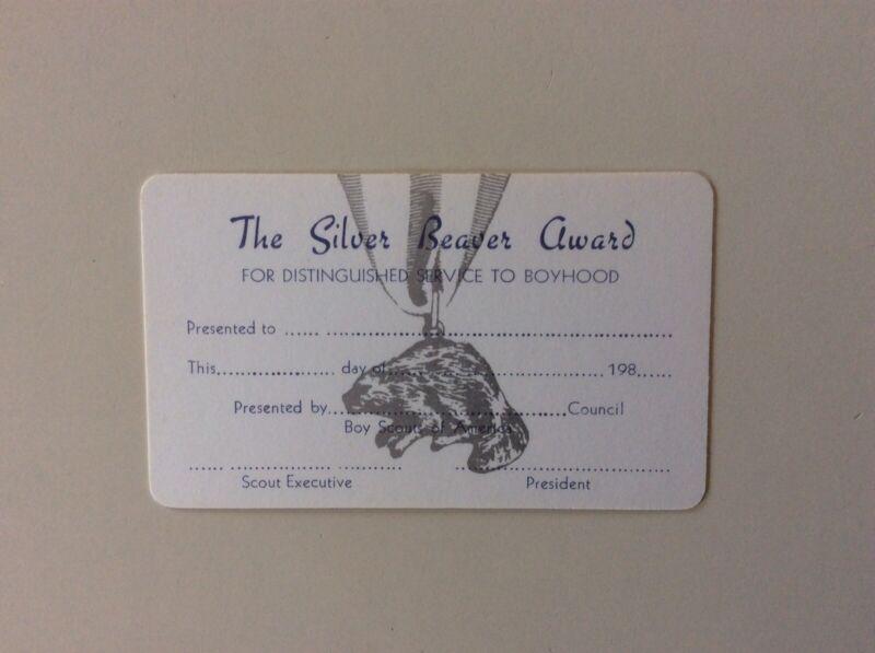 BSA Boy Scouts Of America Silver Beaver Award Card Unused, 1980s