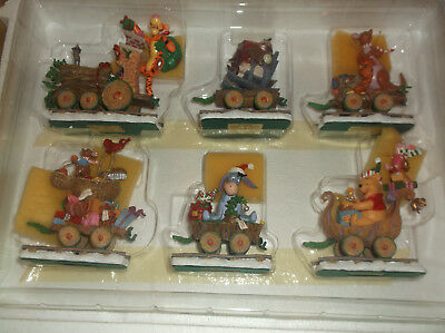 Winnie The Pooh Christmas Train Disney Danbury Mint 6 Piece set new old stock
