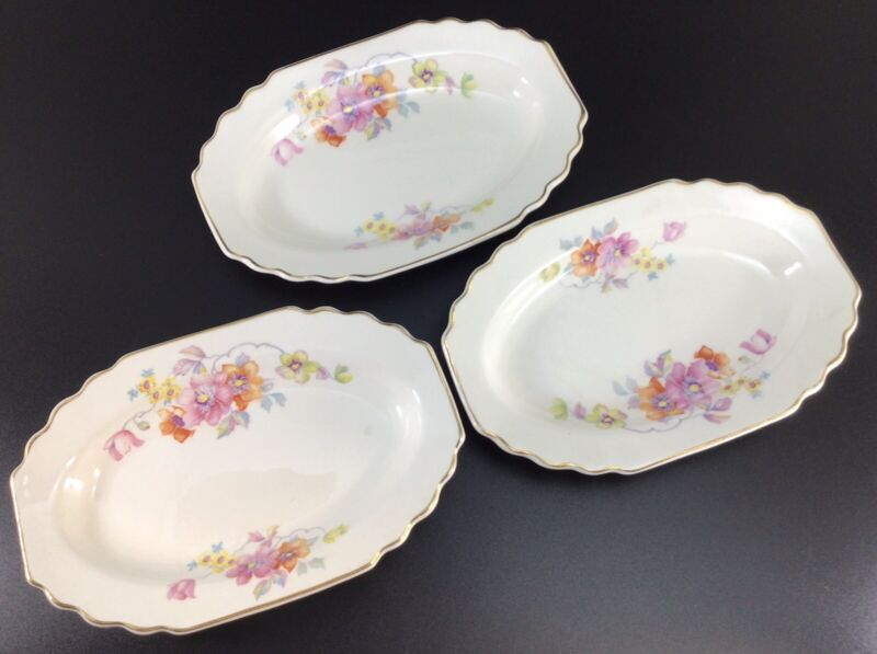 Lido W.S. George White Floral Small Serving Dishes Set Of 3