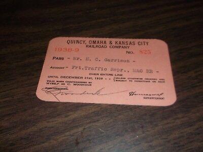 1938-1939 QUINCY OMAHA & KANSAS CITY RAILROAD COMPANY EMPLOYEE PASS #825](Party City Omaha)