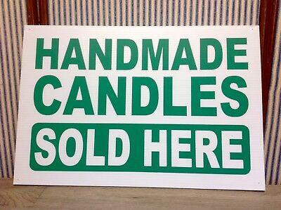 Nice Plastic Sign - Handmade Candles Sold Here - White Wgreen Letters 12 X 18