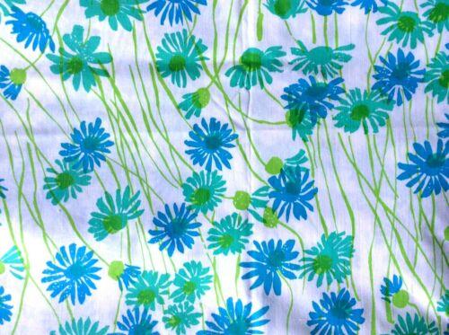 2 2/3 yards Zuzek Key West hand print fabric Daisyfalls flowers daisy blue green