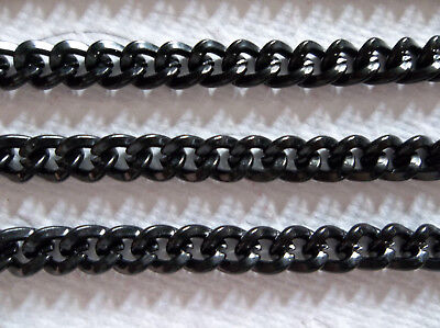 Black Curb Chain - 5X6mm - Medium Size Links - 46 inches - 116.84cm