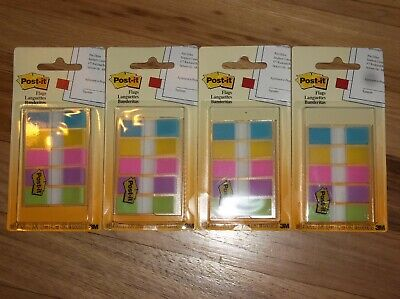4x 3m Post-it Flags Assorted Bright Colors 100ct 0.47 X 1.7 683-5cb