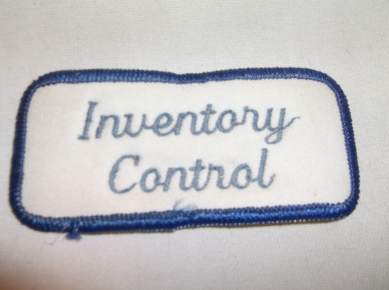 INVENTORY CONTROL USED EMBROIDERED  SEW ON NAME PATCH TAGS    BLUE ON WHITE
