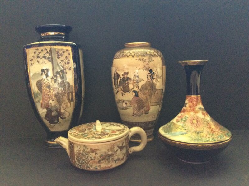 Four (4) Pieces Japanese Satsuma Pottery