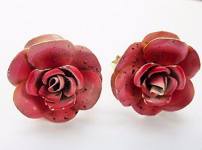 VINTAGE 1950'S WEISS ENAMEL ROSE FLOWER CLIP ON EARRINGS SIGNED