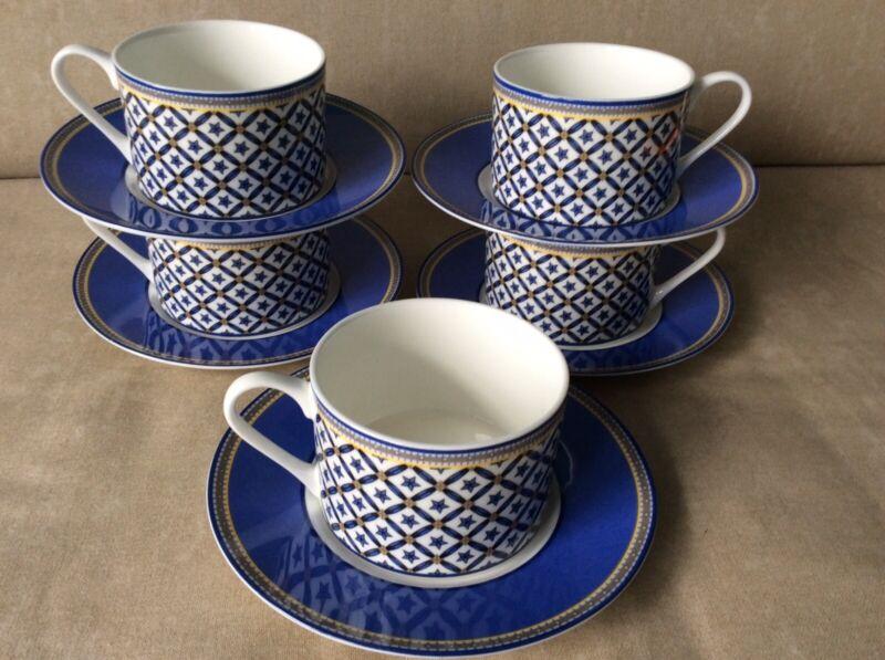 Victoria & Beale Cambridge Williamsburg blue coffee flat cup & saucer sets stars