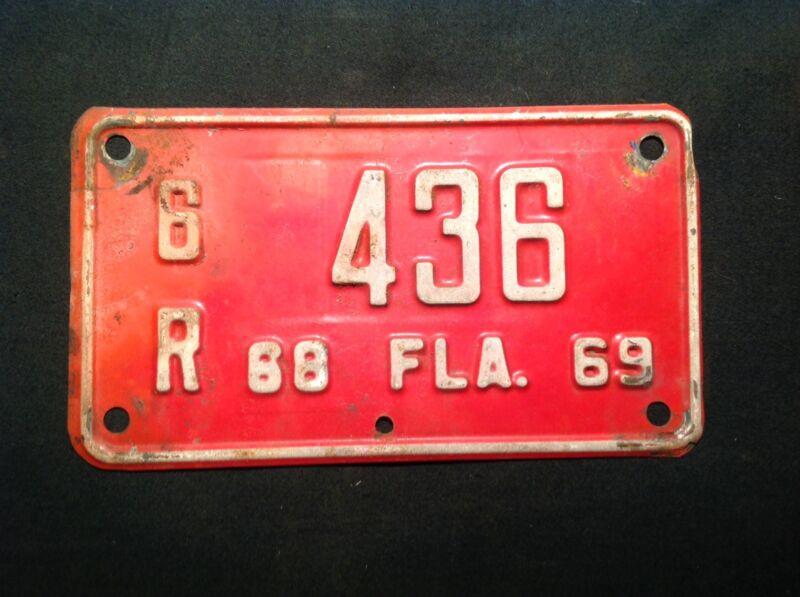 Vintage Florida Motor Cycle License Plate 1969