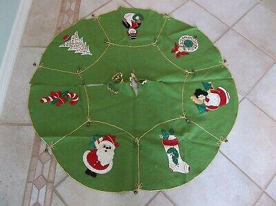 Vintage Felt Christmas Tree Skirt Sequins Handmade Bells Gorgeous Ornate