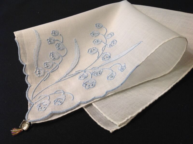 #5477🌟Vintage Madeira Blue LILY Of the VALLEY Wedding Handkerchief GREMIO Tag