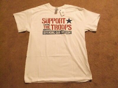 """Men's T-shirt by Gildan - White - """"Support Our Troops"""" - Size Large"""