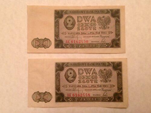 Poland 1948 Polish National Bank Two 2 Zlote P 134 - Lot of 2 Banknotes