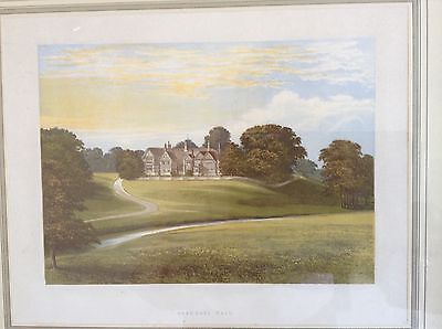 Victorian coloured print of Bramhall Hall, Nr Stockport, Greater Manchester