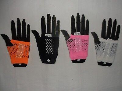 Forever 21 fishnet fingerless gloves white black pink or orange nwt (Pink Fishnet Glove)
