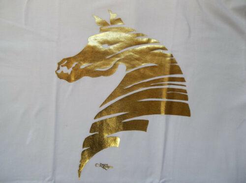 "Gold Foil Horse Silhouette T-shirt  "" White "" LG ( 42 ~ 44 )"