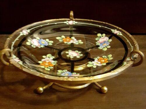 Vintage French Ormolu Enamel Hand Painted Glass Bowl Centerpiece Brass Trim Base