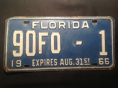 Florida License Plate 1966 County Plate #1