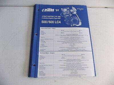 KTM  LC4 500 600  MANUAL OF ENGINE  PARTS  KTM  1991