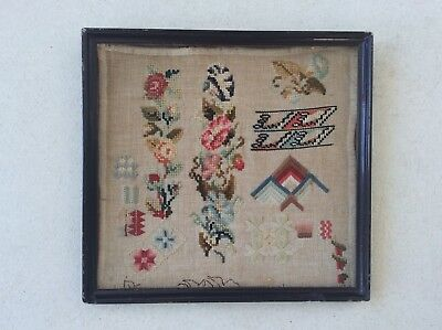 ANTIQUE NEEDLEWORK SAMPLER VICTORIAN Circa 1860.