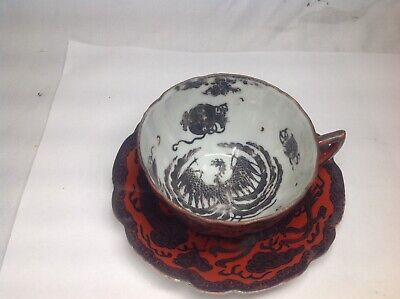 19th Japanese Coral Ground Silver Decorated Dragon And PhoenixTea Cup And Sauce