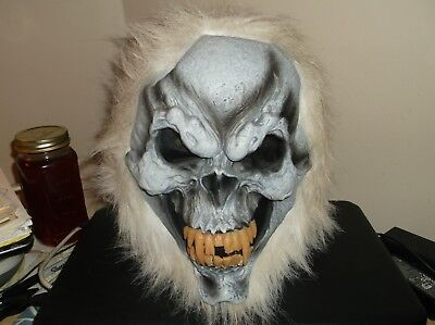 GHOUL HALLOWEEN MASK (Full Over-the-Head)(Thick White Hair all around the  outsi - All White Halloween Masks