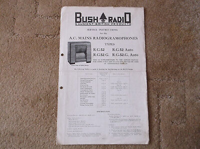 Bush Service Instructions A.C. Mains Radiogramophones R.G.52/G & R.G.52/G Auto