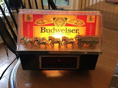 Vintage Budweiser Bar Clock Clydesdale's Lighted Clock Beer Sign