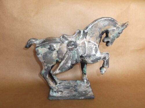 """Tang Dynasty Inspired Cast Iron Chinese War Horse Statue by Toyo Japan 11""""x 8.5"""""""