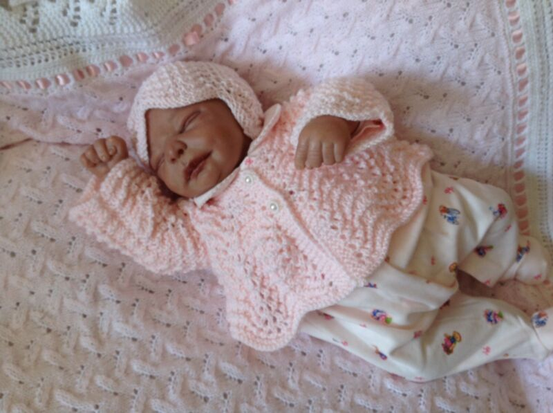 Handknitted Vintage Style Baby Coat and Hat for Reborn Or Newborn Baby.