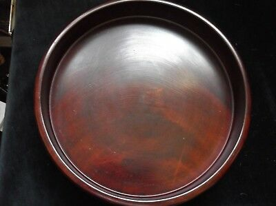 VINTAGE SOLID WOOD ROUND TRAY RICH DEEP COLOUR LOVELY GRAIN 11