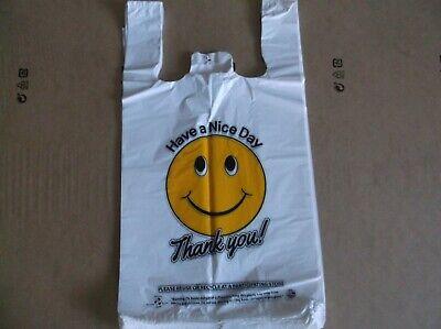 1000 Ct Plastic Shopping Bag Medium Size T Shirt Type Groceryhappy Face White