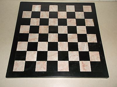 VINTAGE MARBLE PINK/GREY AND BLACK CHESS BOARD & ONYX AZTEC PIECES for sale  Uxbridge