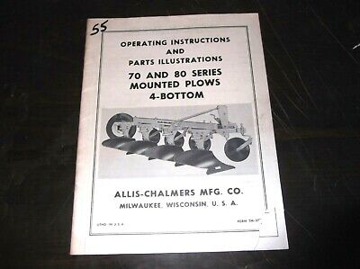 Allis Chalmers Model 70 80 Series 4 Bottom Plows Operators Parts List Manual