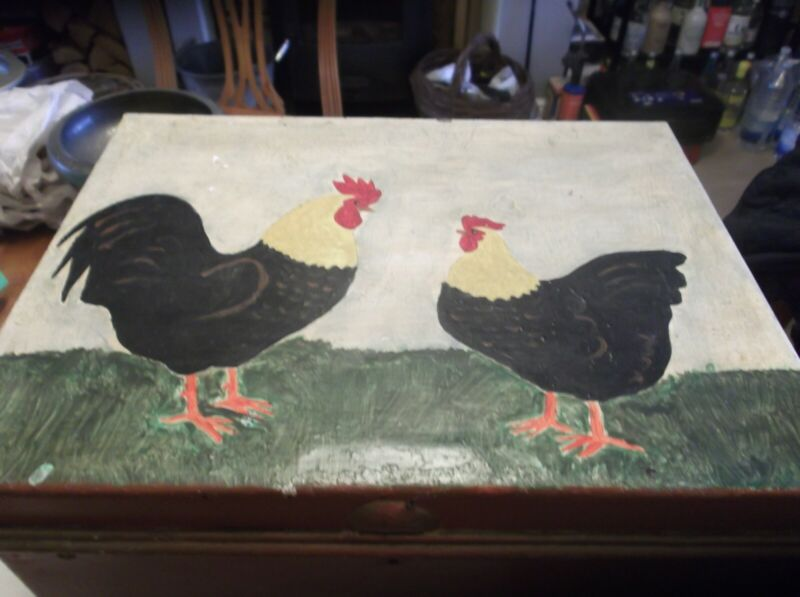 ANTIQUE PAINTED DEED TIN BOX