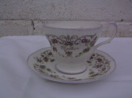 MOTHER bone china cup & saucer by Rosina China Co. white/purple flowers
