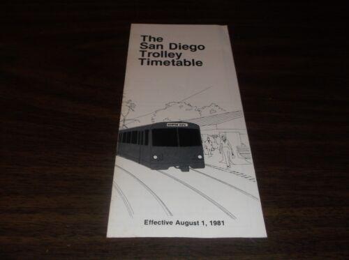 AUGUST 1981 SAN DIEGO TROLLEY TIMETABLE