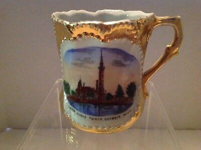 Water Works Tower, Detroit Michigan Souvenir Cup, Germany, 1920's