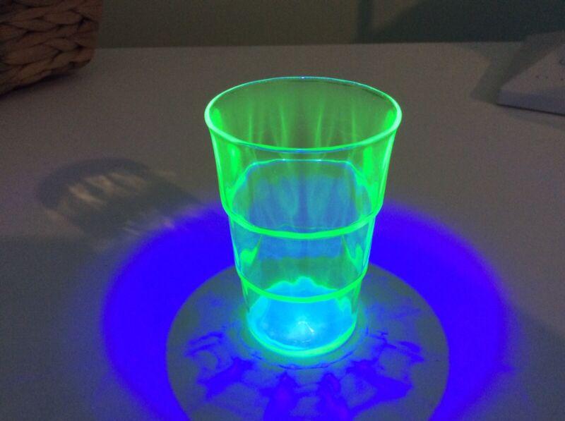 Vintage Hocking Depression Green Uranium 3 Oz Flat Tumbler Block Optic Pattern