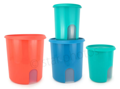 Tupperware One Touch Reminder Counter Canister Container 4-piece Set - New!