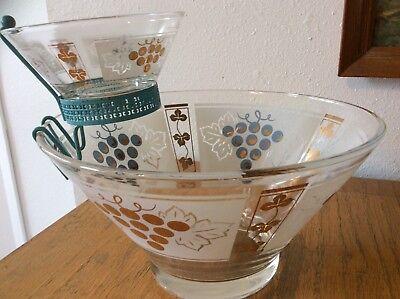 Retro Mid-Century Chip &Dip Bowl Set with Grape Blue & Gold Design