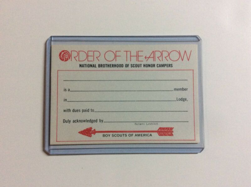 BSA Boy Scouts OA Order Of The Arrow Membership Card, No. 5008, 175M876, Unused