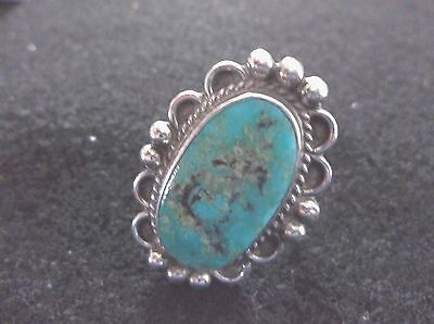 Southwestern Sterling Turquoise Ring - Size 7