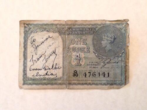 - WWII Short Snorter British India One Rupee 1940 Banknote George VI P25